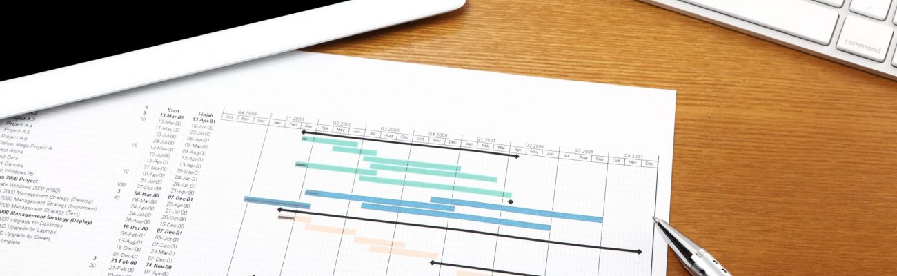 Working desk with project gantt chart